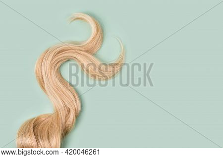 Curly Blonde Hair On Mint Background. Beautiful Healthy Long Blond Hair Lock, Haircut, Hairstyle. Dy