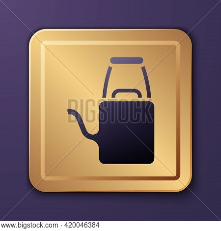 Purple Watering Can Icon Isolated On Purple Background. Irrigation Symbol. Gold Square Button. Vecto