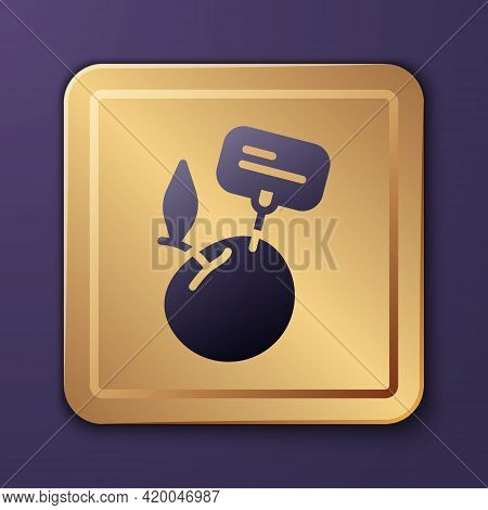 Purple Supermarket Food Products With Price Label Icon Isolated On Purple Background. Gold Square Bu