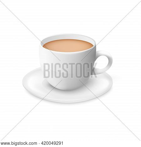 Milk Tea In White Porcelain Cup - Realistic 3d Mockup Of Ceramic Mug