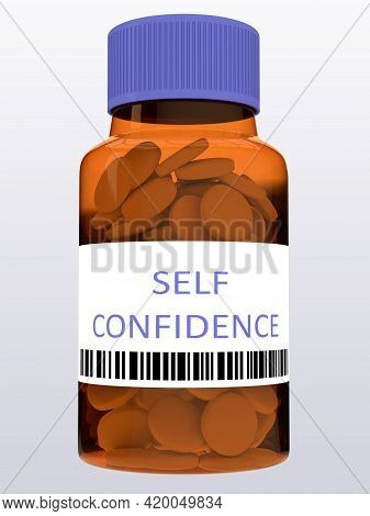 3d Illustration Of Self Confidence Title On Pill Bottle, Isolated Over Pale Blue Background.
