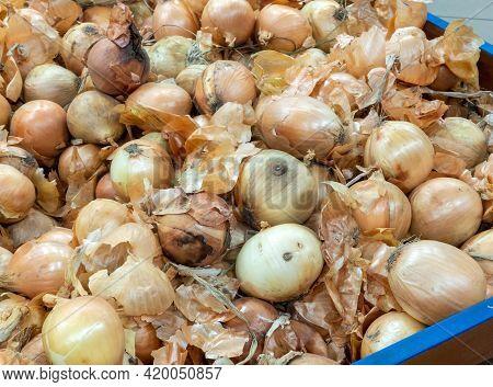 Onions On Supermarket Vegetable Shelf. Vegetable Department In A Supermarket.