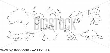 One Line Set Of Australian Animals. Koala And Cockatoo Outline. Kangaroo And Kiwi Continuous Line. O