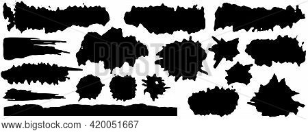 Vector Collection Of Artistic Grungy Black Paint Hand Made Creative Brush Stroke Set Isolated On Whi