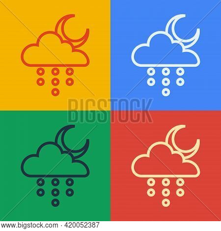 Pop Art Line Cloud With Rain And Moon Icon Isolated On Color Background. Rain Cloud Precipitation Wi