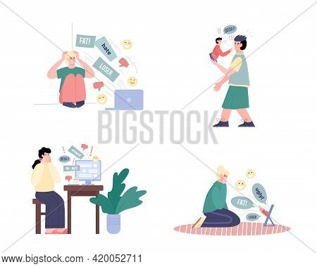 Cyberbullying And Harassment In Network Cartoon Vector Illustration Isolated.