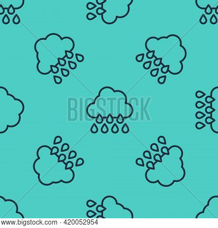 Black Line Cloud With Rain Icon Isolated Seamless Pattern On Green Background. Rain Cloud Precipitat