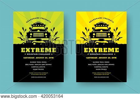 Off Road Truck Competition Poster Or Flyer Event Modern Typography Design Template And 4x4 Suv Car S