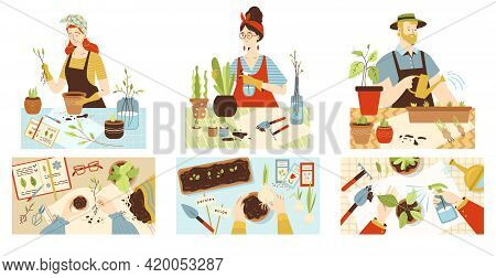 People Engaged With Houseplanting Hobby Flat Vector Illustration Isolated.