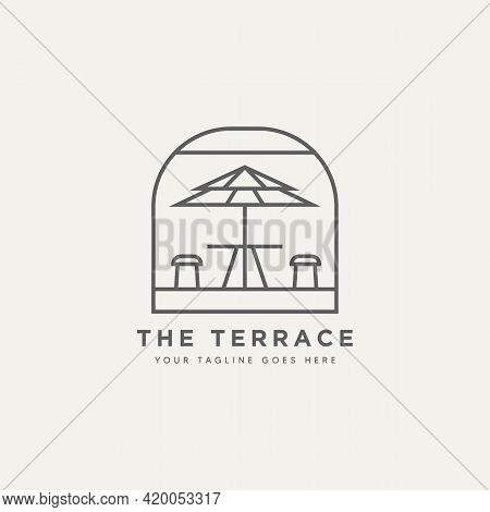 The Terrace Coffee Minimalist Line Art Badge Logo Template Vector Illustration Design. Simple Modern