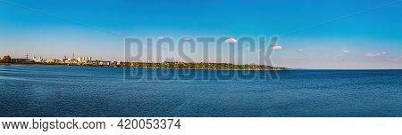 Artificial Reservoir Of The Kiev Hydroelectric Power Station. Kiev Sea. The City Of Vyshgorod. Dniep