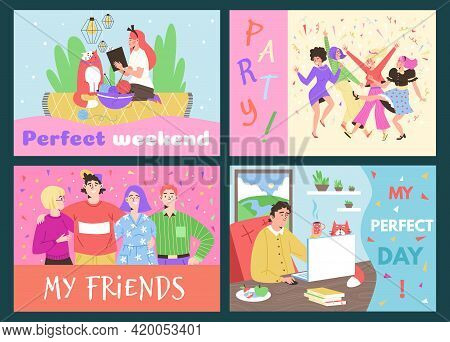 People Rest Alone And With Friends Flat Vector Illustration Isolated.
