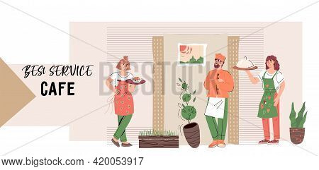 Web Site Banner Or Landing Page Template With Restaurant Staff - Waitresses And Cook Characters. Web