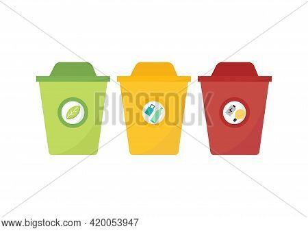 Illustration Of A Trash Can With Three Types Of Trash, Namely, Organic, Inorganic And Hazardous Or H