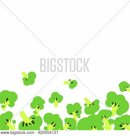 White Background With Vector Green Flat Broccoli