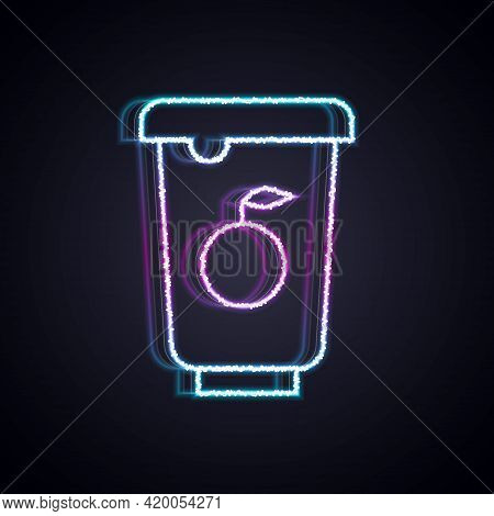 Glowing Neon Line Yogurt Container Icon Isolated On Black Background. Yogurt In Plastic Cup. Vector