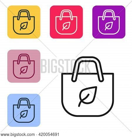 Black Line Paper Shopping Bag With Recycle Icon Isolated On White Background. Bag With Recycling Sym