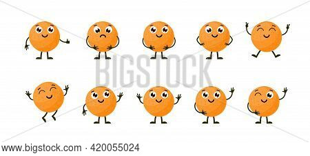 Cartoon Funny Fruits. Happy Orange With Face. Summer Fruit Orange Characters Isolated On White. Vect