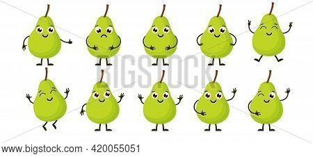 Cartoon Funny Fruits. Happy Pear With Face. Summer Fruit Pear Characters Isolated On White. Vector I