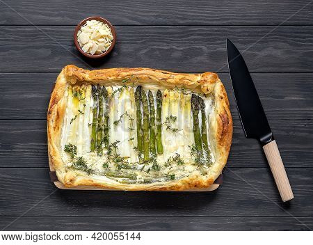 Delicious Homemade Green And White Asparagus Quiche With Parmesan. Vegetarian Healthy Puff Pastry Ta