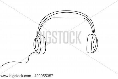 Single Continuous Line Art Audiobook Education. Learning Listen Apps Master Headphones Graduate Onli