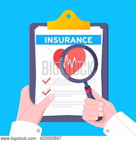 Hand Hold Medical Insurance Claim Form Paper Sheets, Doctor Hand With Magnifying Glass Flat Style De