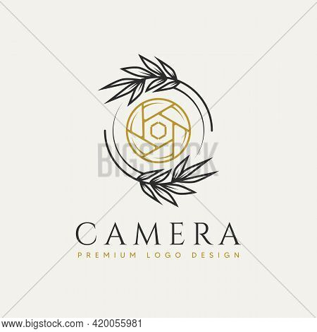 Nature Camera Minimalist Line Art Badge Logo Icon Template Vector Illustration Design. Simple Modern
