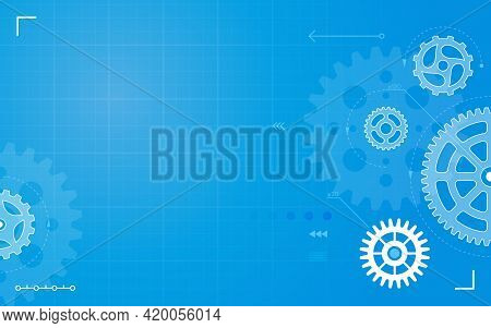 Gears. Abstract Technical Drawing, Blueprint With Gear, Cogs. Mechanical Engineering, Machinery Cons