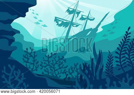 Sea Underwater Background. Deep Ocean Bottom With Seaweeds, Sunken Ship, Coral And Fishes Silhouette