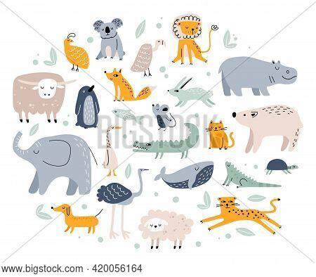 Scandinavian Animals. Cute Childish Fox, Elephant, Bear, Crocodile, Rabbit, Cat. Hand Drawn Forest A