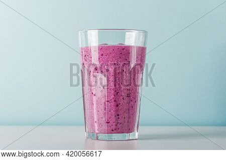 Homemade Blueberry Or Currant Smoothie With Cottage Cheese And Fruits. Concept Of Proper Nutrition A