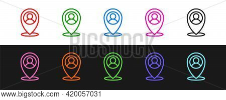 Set Line Map Marker With A Silhouette Of A Person Icon Isolated On Black And White Background. Gps L