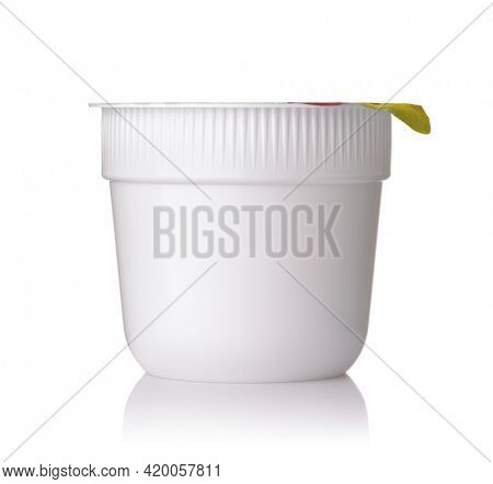 Front view of blank closed plastic disposable instant noodle bowl isolated on white