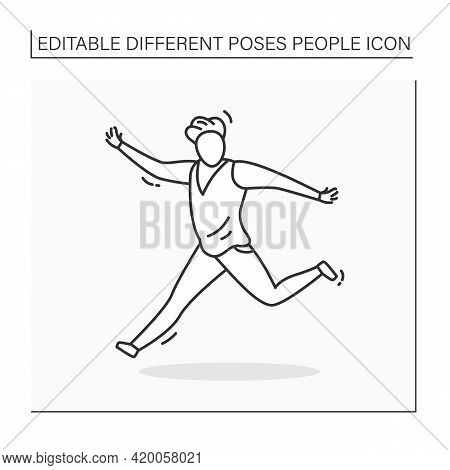 Person Pose Line Icon.man Running, Keeping Hands Up. Waving. Dancing. Looking Directly.people Poses