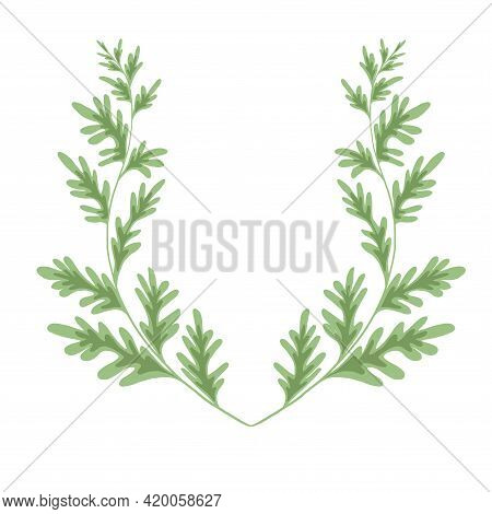 Wormwood Herbaceous Frame On A White Background. Template With Grass Fields. Wreath With A Branches
