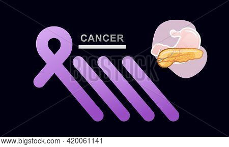 Conceptual Medical Banner Landing Page, Pancreas Disease, Cancer Hope And Support Ribbon Purple On B