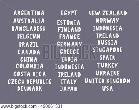 The Names Of The Countries Of The World. European Countries. Hand Lettering.