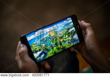Illustrative Editorial Image Of Child Playing Fortnite