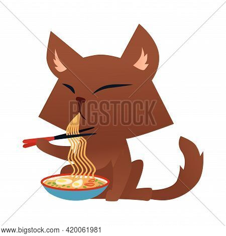 Cartoon Cat Character Eating Ramen Noodle With Chopsticks