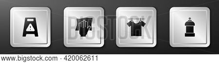 Set Wet Floor, Cleaning Service, Drying Clothes And Bottle For Cleaning Agent Icon. Silver Square Bu