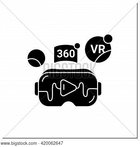 Virtual Reality Video Glyph Icon. Watching Real-life Video, Immerse Into Virtual Reality With High Q