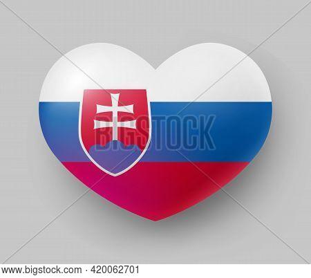 Heart Shaped Glossy National Flag Of Slovakia. European Country National Flag Button, Slovak Symbol
