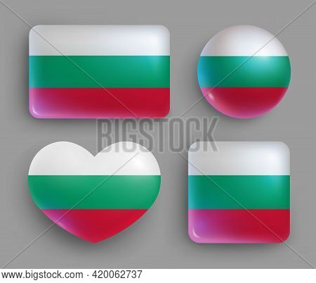 Glossy Buttons With Bulgaria Country Flags Set. European Country National Flag Shiny Badges Of Diffe
