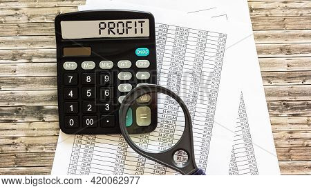 Calculator With The Word Profit On The Display