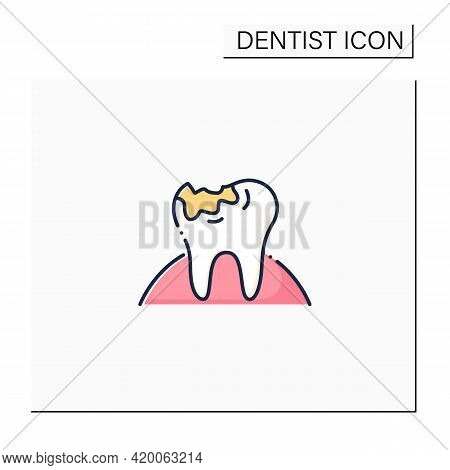 Tooth Decay Color Icon. Oral Surgeons Treatments In Dental Caries. Healthcare Procedures Helps Prote