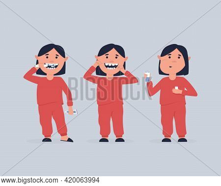 A Set Of A Girl Taking Care Of The Oral Cavity. Girl Brushes His Teeth With An Electric Brush, Clean