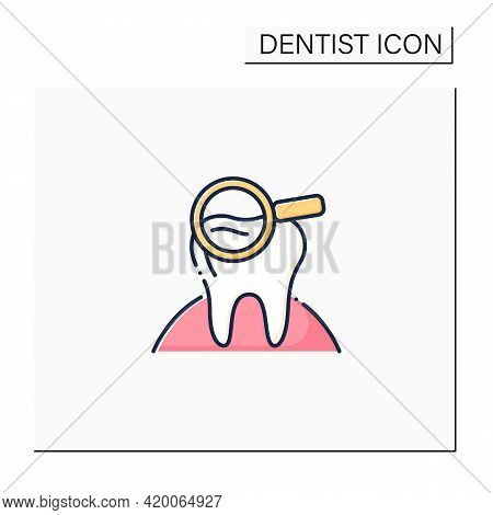 Dental Screening Color Icon. Searching Problems, Disease Treatments. Healthcare Concept. Tooth Surge