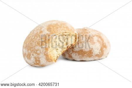 Tasty Bitten And Whole Gingerbread Cookies On White Background