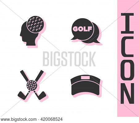 Set Sun Visor Cap, Golf Ball, Crossed Golf Club With And Label Icon. Vector