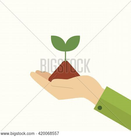 Hand Holding Young Plant. Vector Illustration. Graphic Design